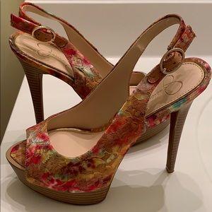 Jessica Simpson Shoes - Jessica Simpson Kaine Floral Lace Heel Sz 7